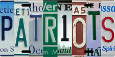 New England Patriots License plate collage with New England State plates