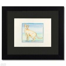 "ORIGINAL Colored Pencil Drawing Charles Lynn Bragg ""Cat Lines #2"" Framed"