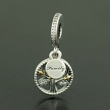 Authentic Genuine Pandora Silver 14 Gold Family Tree Charm - 791728CZ