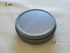 Five (5) NEW 2 oz Round Screw Top Lid Rust Resistant Metal Craft Tin Container