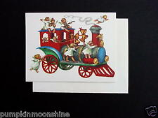 Unused Erica Von Kager Brownie Xmas Greeting Card Angels Riding On Red Train