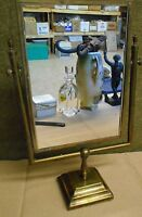 "Old / Antique Brass Frame Free Standing Mirror - 20 1/4"" Tall"