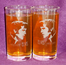 "Hand Etched Pair of ""Elvis Presley"" Highball Glasses - Gift/Memorabilia"