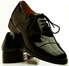 Genuine Patent Leather Cap Toe Lace Up Tuxedo Shoes