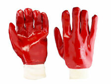 10 PAIRS RED PVC KNIT WRIST GLOVES SIZE LARGE FULLY COATED WATERPROOF HEAVY DUTY