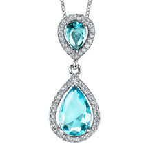 925 Sterling Silver Tear Drop Dangle Pear Shape Aquamarine CZ Pendant Necklace