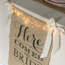 """Here Comes the Bride"" Rustic Ceremony Wedding Burlap Banner For Flower Children"