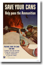 Save Your Cans - Vintage WWII WPA War Art Print  POSTER