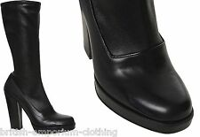 PRADA Black Calzature Donna Soft Lux Easy Mid-Calf Boots Shoes EU40 Uk7 BNIB