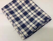 CLEARANCE:  Heavy Blue Check Cotton Plaid - 500gsm - FR'd For  Upholstery
