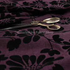 New Soft Texture Raised Floral Pattern Outline Design Purple Upholstery Fabrics