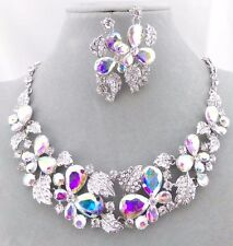 AB Crystal Butterfly Necklace Silver Bib Fashion Jewelry NEW