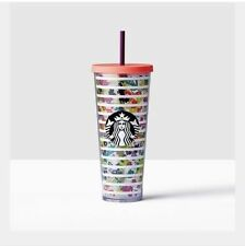 Starbucks Colorful Flowers Acrylic Plastic Cold Cup Tumbler 24oz Venti New 2017