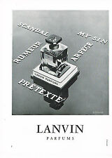 PUBLICITE ADVERTISING 044   1960    LANVIN  parfum PRETEXTE MY SIN ARPEGE SCANDA
