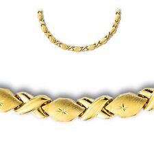 Diamond Cut Hugs & Kisses XOXOXO Chain Necklace Real 14K Yellow Gold