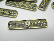 "10 Handmade Label Metal Tags 25mm (1"") Bronze Connector Handmade Crafts Label"