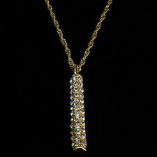 Cylinder Pendants Necklace Charm Crystal Clear Costume Jewelry 24k Gold Plated