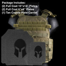 AR500 Body Armor | Front, Back and Side Plates + Tan Coyote Carrier Level III