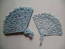 6 DIE CUT PEARLISED BLUE FANS  FOR CRAFTS