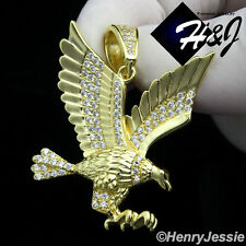 MEN 925 STERLING SILVER LAB DIAMOND ICED OUT BLING 3D EAGLE GOLD PENDANT*GP149