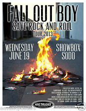 "FALL OUT BOY ""SAVE ROCK AND ROLL TOUR 2013"" SEATTLE CONCERT POSTER - Pop Punk"