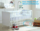 """Wooden Baby Cot Bed Toddler Bed 4"""" Water repellent Mattress Made In UK 140x70cm"""