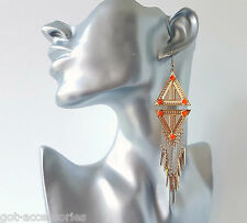 Gorgeous long Gold tone &  orange diamond shape spike & chain drop earrings