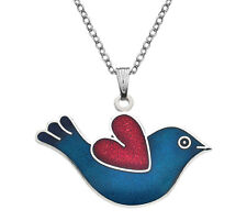 New Silver Tone Blue Red Enamel Bird Heart Pendant Necklace in Gift Box 2694
