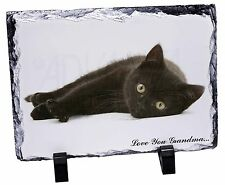 Black Cat 'Love You Grandma' Photo Slate Christmas Gift Ornament, AC-131lygSL