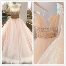 Blush Pink Wedding Dress Beaded Strapless Tulle Bridal Gown 6 8 10 12 14 16 18W+