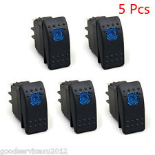 5 Pcs 4-Pin Black Shell Car Marine Vehicles LED Rocker Toggle Switch Kit ON/OFF