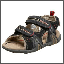 NWB Geox Respira Leather/Suede J S. SAFARI  Sandals Navy/Beige Size 3,5 Youth