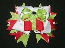 "NEW ""CHRISTMAS PRESENT"" Polka-Dot Alligator Clips Girls Ribbon Hair Bows Holiday"