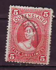 QUEENSLAND 1882-95 HIGH VALUE STAMP  5s rose (thick paper) Used Cat £55