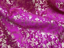"FUCHSIA/GOLD  METALLIC  CHURCH BROCADE FABRIC 45""  WIDE 1 YARD"