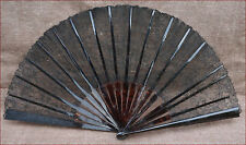 French Large Black Lace Fan Shell 18 Arms Paris 1870