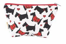 Milly Green Scottie Dog Cotton Cosmetics Make Up Wash Travel Flight Bag MG1079
