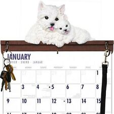 WESTIE CALENDAR CADDY, KEY HOLDER & LEASH HOOK~NEW WITHOUT BOX!