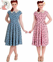 HELL BUNNY 40s PENNY LOVER vintage style TEA bicycle DRESS BLUE PINK
