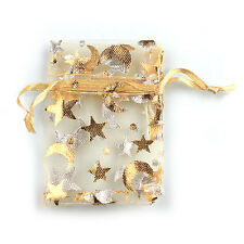 50x Hotsale Yellow Star Moon Printed Organza Gift Package Bags Wedding Favour LC