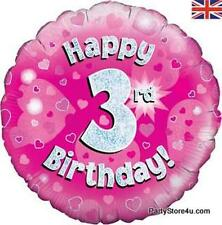 "18"" PINK HOLOGRAPHIC FOIL BALLOON ""HAPPY 3RD BIRTHDAY"" CELEBRATION PARTY"
