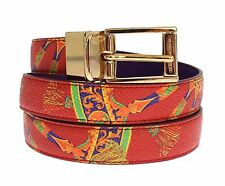 NWT $360 DOLCE & GABBANA Belt Majolica Leather Gold Buckle Reversible 85cm/ 34in