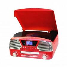 NEW*TECHPLAY*3 Speed MP3 CD RECORD PLAYER TURNTABLE*with USB/SD,AUX IN*Retro RED