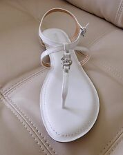 New Michael Kors Bethany Flat Strappy Sandals Optic White Size 9M