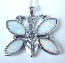 "STYLISH DETAILED BUTTERFLY WHITE OPAL PENDANT + 18"" SILVER CHAIN"