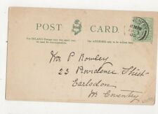 Mr P Rowley Providence Street Earlsdon Coventry 1905 357a