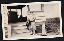 Antique Photograph Woman With Jacket Over Arm Standing in Front of House