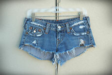 TRUE RELIGION JOEY CUT OFF Size 26 (5) Destroyed Booty USA Hot Mini Denim Shorts