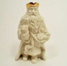 LENOX HOLIDAY FIGURINE STATUE SANTA W/GIFTS CRISTMAS GOLD RIM HAT & SKIRT