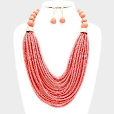 Multi Layers Peach Glass Seed Bead Lucite Bead Chunky Necklace Earring Set